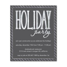 I like the chalkboard effect on these...Holiday Hit Event Invitations