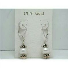 14YGP/.925 SS pearls leaver back earrings ⤵💲⤵💲FINAL price, have 2 ~~14kYGP/.925 SS pearls leaver back earrings ~~NWOT, stamped .925 ~~Have 2 pair, will come in box not on card holder  ~~thank u. Luxury Line Jewelry Earrings