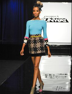 Designer: Mondo Guerra   Project Runway (S.8)  This looks like a very fun outfit... I dig the color contrast b/w the top & skirt