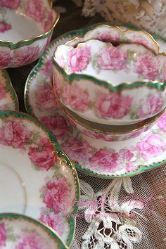 Pink Roses, green trimmed Tea Cups & Saucers. Sadly no maker, design or…