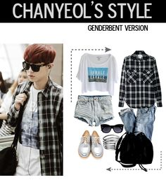 chanyeol airport fashion, genderbent version ~ #exo