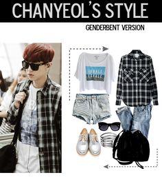 chanyeol airport fashion, genderbent version ~ #exo