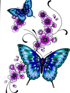 BLUE BUTTERFLIES and flowers  temporary tattoo