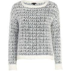 Cream chevron pattern eyelash knit jumper - jumpers - knitwear - women