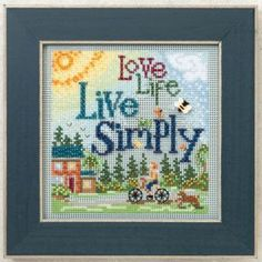 """Mill Hill Buttons & Beads Spring Series - Live Simply - Cross Stitch Kit     A fun and colorful inspirational Beaded Cross Stitch kit.  Design size:  5""""w x 5""""h (12.7cm x 12.7cm).    find it at www.thread-the-needle.com"""