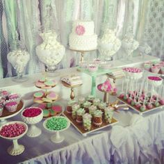 PInk & Green Wedding Dessert table Wedding Party Ideas | Photo 5 of 17 | Catch My Party