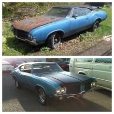 1971 Oldsmobile Cutlass S restoration before and after.
