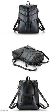 NEW! Large Leather Backpack Black Color Concept for Mens | Black Leather Laptop Backpack Rucksack Spine Back Chaine Design by Leonid Titow
