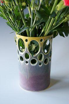 Flower Vase Handmade Pottery Stoneware Wheel by riverstonepottery, $28.00