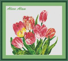 Bouquet seven tulips Counted Cross Stitch Pattern / от HallStitch