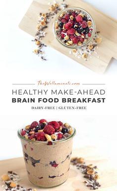 Make-Ahead Brain Food Breakfast High Protein Breakfast, Healthy Breakfast Recipes, Raw Food Recipes, Gourmet Recipes, Breakfast Ideas, Healthy Recipes, Nutritious Snacks, Healthy Snacks, Healthy Eats