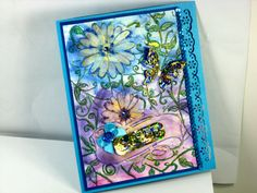Blue 3D Card All Handmade From Paper Cardstock & Holographic Paper With 3D Gold Leafing Shimmer by Chris of  PaperMagicFantastic, $5.00