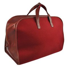 Auth HERMES FEU2DOU Felted Jumbo XL Hand Duffle Bag Barenia Red Vintage RK07762