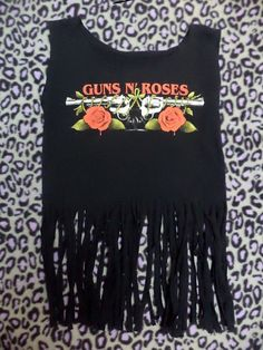 fringe guns n roses crop top size small