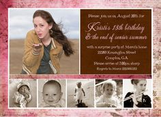 Free Printable Birthday Invitations A baby declaration or birth announcement is a mark traditionally transmitted to acquaintances . Free Printable Birthday Invitations, Photo Birthday Invitations, Free Printable Cards, Free Printables, Graduation Invitations, Printable Coupons, 18th Birthday Party, Birthday Party Outfits, Birthday Photos