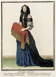 Recueil des modes de la cour de France, 'La Sage Femme'  Nicolas Bonnart (France, 1637-1717)  France, Paris, circa 1678-1693  Prints  Hand-colored engraving on paper