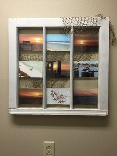 Turn an old window into a photo frame.