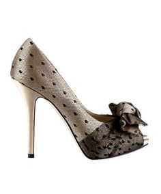 Paio decolltè spuntate con fiocco in satin beige ricoperte di pizzo nero-Dior