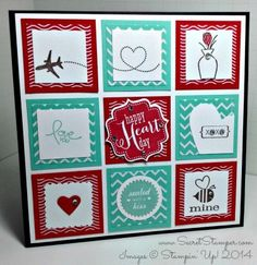 February Tabletop Stamp Sets: Vivid Vases, Crazy, Mixed-Up Love, Sent with Love, P.S. I Love You Paper: Fresh Prints DSP Stack, Real Red, Coastal Cabana, Whisper White Ink: Early Espresso, Real Red, Coastal Cabana SU Tools: Bracket Label Punch, Postage Stamp Punch, Small Heart Punch, Large Heart Punch, Starburst Framelits, 1 1/4″ Circle Punch Finishing Touch: Rhinestone Basic Jewels