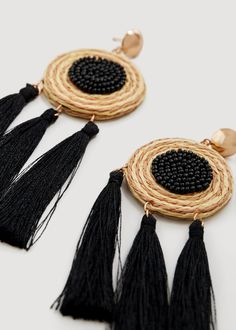 Mango Tassels Pendant Earrings - Black One Size Pendant Earrings, Beaded Earrings, Earrings Handmade, Handmade Jewelry, Tassel Jewelry, Textile Jewelry, Fabric Jewelry, Jewellery, Fashion Earrings