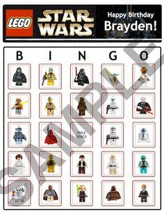 Bingo Lego Star Wars Birthday Party Game Cards by BDAYSTUFF4U, $5.00