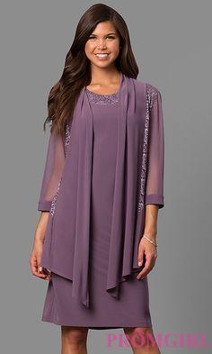 Short Lace Neckline Dress with Jacket