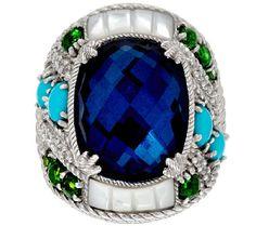 Judith Ripka Sterling Multi-Gemstone & Diamonique Ring