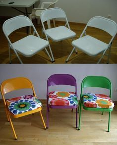 Here are some points to add beauty of your hall… - SCHOOL ROOM Sunday School Rooms, Sunday School Classroom, Sunday School Crafts, Painted Chairs, Metal Chairs, Painted Folding Chairs, Youth Group Rooms, Youth Ministry, Sunday School Decorations