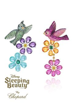 Legendary jeweller Chopard has collaborated with iconic London store Harrods, to produce a Haute Joaillerie line, in continuation with their Walt Disney Princess theme.    In comparison, Sleeping Beauty's earrings are far more colourful. Comprising of two separate designs, these earrings consist of emeralds, tsavorites, amethysts and paraibas tourmalines on one, while pink and yellow sapphires and rubies distinguish the other side.