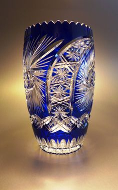 Blue Crystal Cut Glass Vase in mint by UniqueThingsChicago on Etsy Cut Glass Vase, Cobalt Glass, Fused Glass Art, Cobalt Blue, Baccarat Crystal, Crystal Glassware, Crystal Vase, Painted Ladies, Vase Cristal