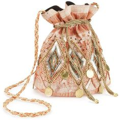 Miss Selfridge Gold Trim Duffle Bag ($68) ❤ liked on Polyvore featuring bags, handbags, peach, beaded bags, peach handbags, peach purse, cotton purse and cotton duffle bag