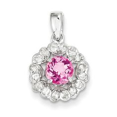 Sterling Silver Rhodium Plated White Topaz Pink Tourmaline Pendant SKU: QGQP3003PT $282.99