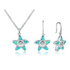 Dancing Diamond Sterling Silver Created Opal Starfish Ear…
