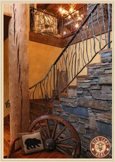 Hand-crafted wrought iron balusters in a twig design and stacked slate makes the staircase of this rustic log home really stand out (via Rubicon Portfolio : Design Ideas from High Camp Home – Interior Design and Home Furnishings – Truckee and Lake Tahoe Cabin Homes, Log Homes, Iron Balusters, Furniture Packages, Stairways, My Dream Home, Home Interior Design, Home Furnishings, House Design