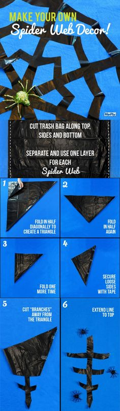 Make your own spider web décor with Hefty!