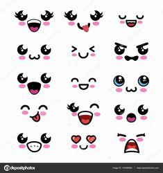 kawaii things to draw Kawaii Drawings, Doodle Drawings, Colorful Drawings, Doodle Art, Easy Drawings, Chibi Eyes, Eye Stickers, Kawaii Doodles, Step By Step Drawing
