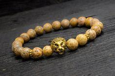 Jasper stone beads gold #Lion head stretchy #bracelet made to order yoga bracelet