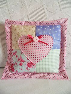 Here are the two lovely completed patchwork cushions all hand-stitched. Shabby Chic Pillows, Diy Pillows, Decorative Pillows, Throw Pillows, Crazy Patchwork, Patchwork Bags, Sewing Crafts, Sewing Projects, Cute Cushions