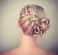 Diagonal double braid updo Wedding hair