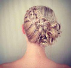 Diagonal double braid updo Wedding hair