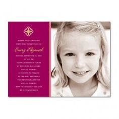Communion invitations, Simple Emblem: Raspberry. http://www.invitationsforanyoccasion.com/index.php/communion-invitations-simple-emblem-raspberry/?afftrack=Pinterest