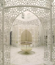 The Royal Mansour in Marrakesh features an architectural lace that seems to be their signature pattern. Above is a view of their spa.