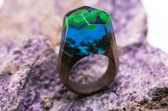 Aurora Borealis wooden resin ring Eco epoxy jewelry Green Wood