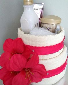 Spa Towel Cake by NicasOccasionGifts on Etsy, $45.00