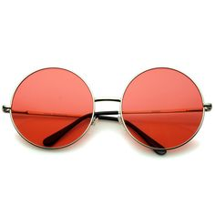Super Oversize Slim Temple Colorful Lens Round Sunglasses 61mm