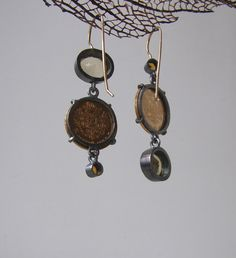 https://flic.kr/p/wFtrMZ | earrins for ilze |    silver, 18K gold, golden coins 1898, citrine