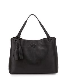 Thea Center-Zip Tote Bag, Black by Tory Burch at Neiman Marcus.