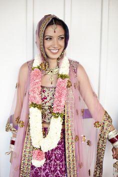 Bridal Lenenga with sheer Dupatta white and pink flower garland