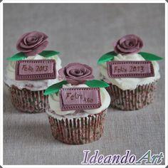 Cupcakes con rosas para Nochevieja