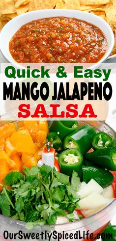 Try the best easy homemade salsa recipe with this Mango Jalapeno Salsa. Adjust the number of jalapen Jalapeno Salsa, Mild Salsa, Salsa Picante, Salsa Salsa, Fresh Tomato Recipes, Spicy Recipes, Veggie Recipes, Mexican Food Recipes, Dining